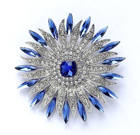 Rhinestone royal blue brooch jewelry embellishment, which can be used for your DIY project - sapphire blue wedding, bridal jewelry, broach bouquet, necklace, bracelet, ring pillow, invitations, cake and frame decorations, event decor, crafts, scrap booking and much more! Size: 2 3/4 inch