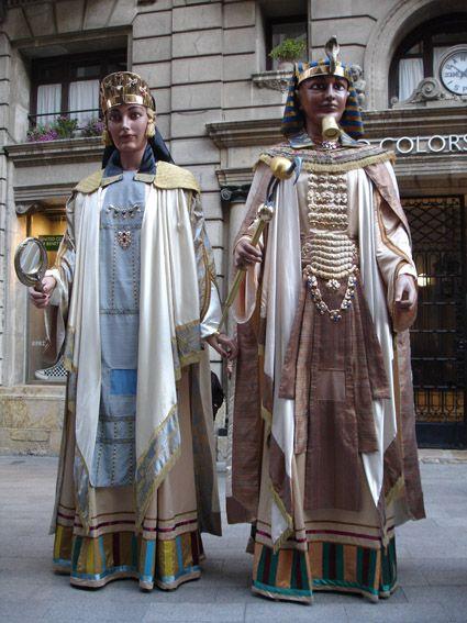 Gegants Faraons de la Paeria de Lleida. El Faraó i la Faraona.