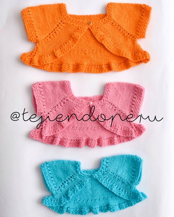 Bolero o torerita mariposa para niñas en 3 tallas tejido a palitos o dos agujas paso a paso :)