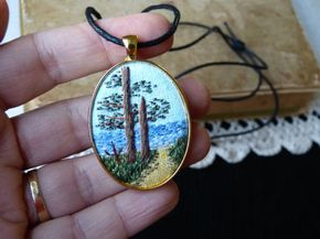 Embroidered necklace sea Landscape pendant tapestry
