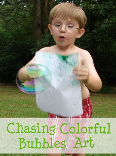 A new and different way to make art with colorful bubbles. Combines exercise, silliness, and art!