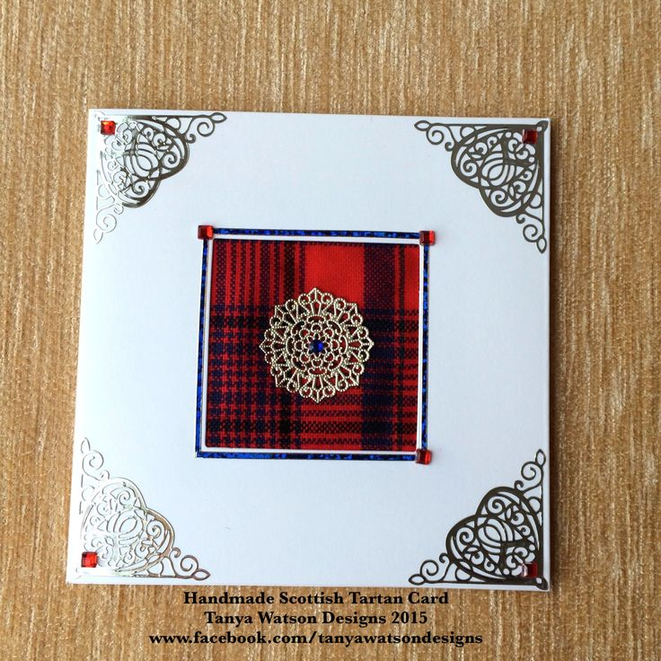 Red Tartan any occasion greeting card with embellishments and silver filigree stamping by TanyaWatsonDesigns on Etsy