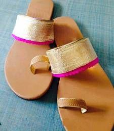 Buy Brown plain fancy fabric footwear footwear online