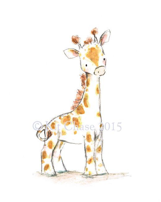 This sweet, baby-faced giraffe makes the jolliest of companions. - art print from an original watercolor, gouache, and acrylic painting by Kit Chase. - archival matte paper and ink - vertical print -