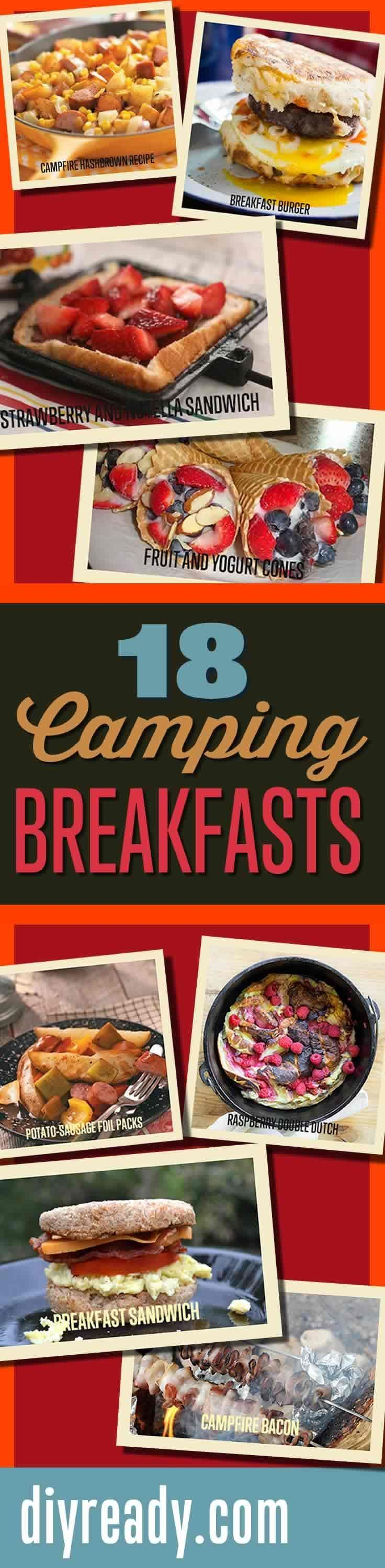 Mouthwatering Recipes You Must Try On Your Next Camping Trip | DIY Camping Breakfast Recipes and Easy Breakfast Ideas for Campfire Cooking  Tips http://diyready.com/18-mouthwatering-breakfast-recipes-to-try-on-your-next-camping-trip/