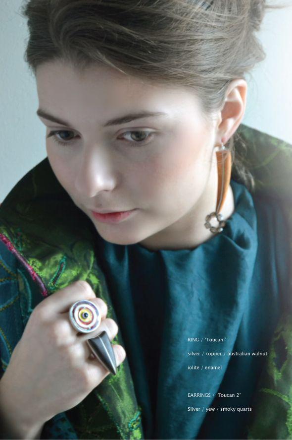 'Toucan' ring & 'Toucan 2' earrings by Paula Treimane  materials ring: silver, copper, enamel, iolite, Australian walnut  earrings: silver, yew, smoky quartz 2016