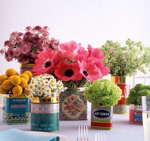 Flower Arrangements in Vintage Tins