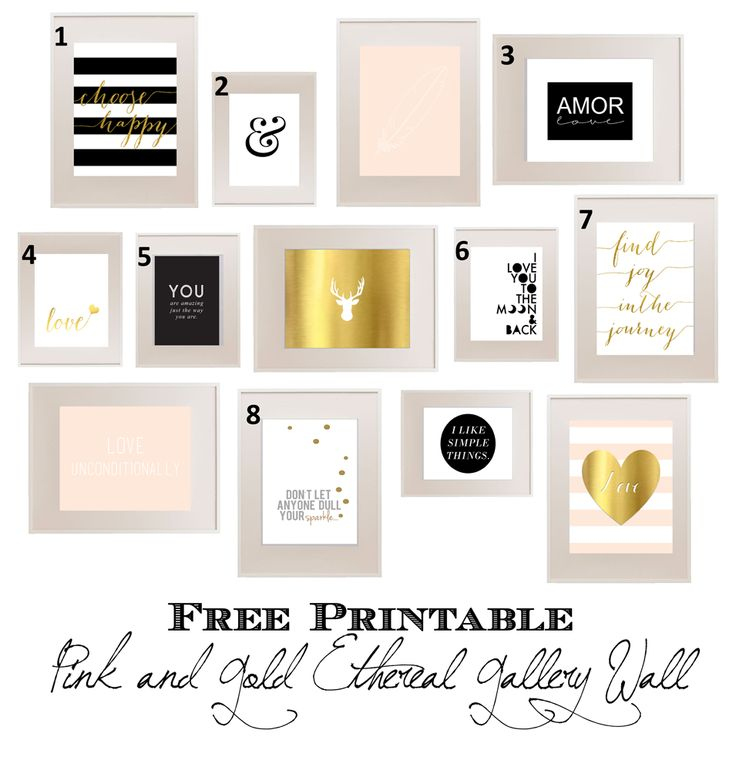 FREE PRINTABLE Pink and Gold Ethereal Gallery Wall.  www.simplymadebyrebecca.wordpress.com