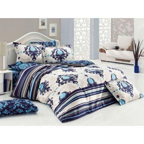 Çift Kişilik Saten Nevresim Takımı Dolce Mavi   Mavi ve tonlarının eşsiz büyüsüne yatak odanızda yer açın.