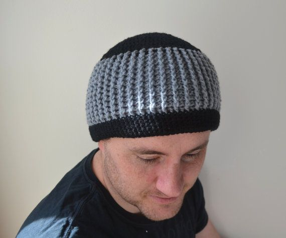 Mens Crochet Beanie Ribbed Black and Grey by LittleFoxCrochet
