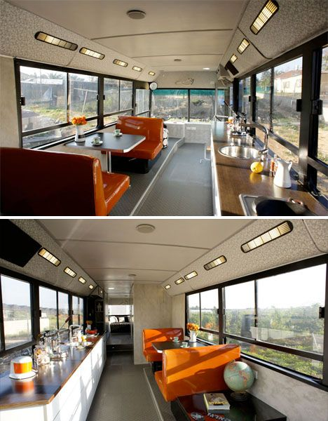 Inside of an old city bus that has been converted to an RV. See the website for more old buses converted to homes.