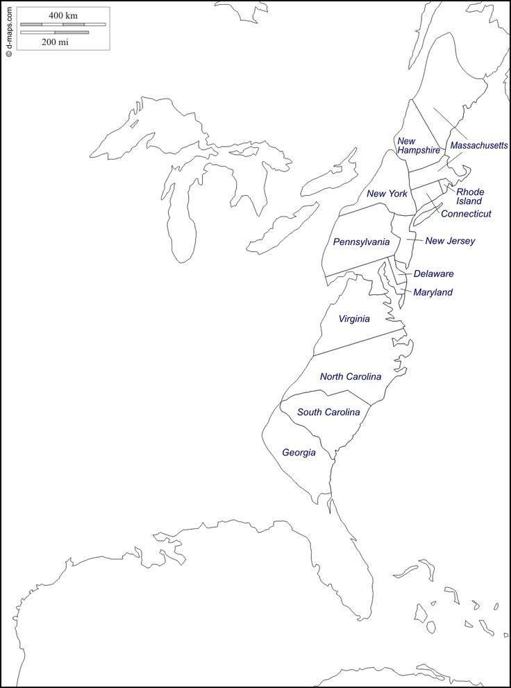 Estados Unidos: las 13 colonias : Mapa gratuito, mapa mudo gratuito ...