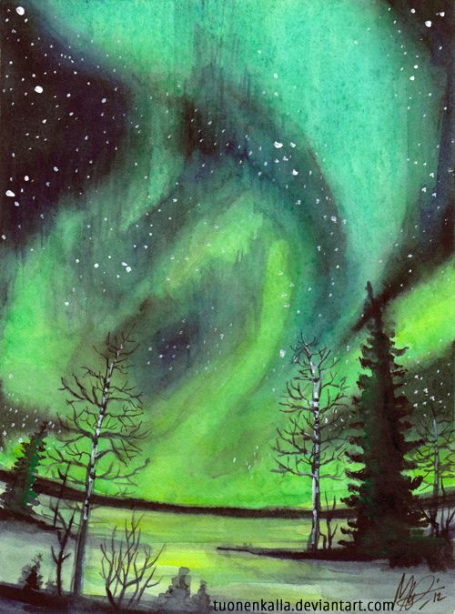 Just a little green... Like the nights when the Northern lights perform  There'll be icicles and birthday clothes  And sometimes there'll be sorrow    They'll beSky Lights - watercolor by ©Tuonenkalla (via deviantART)