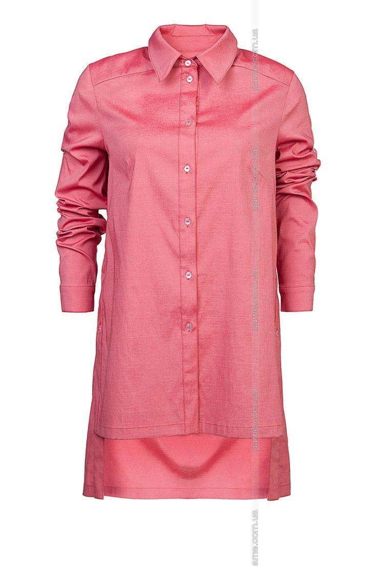 Туника-рубашка. Блузы, рубашки. Цвет: розовый. #3030251