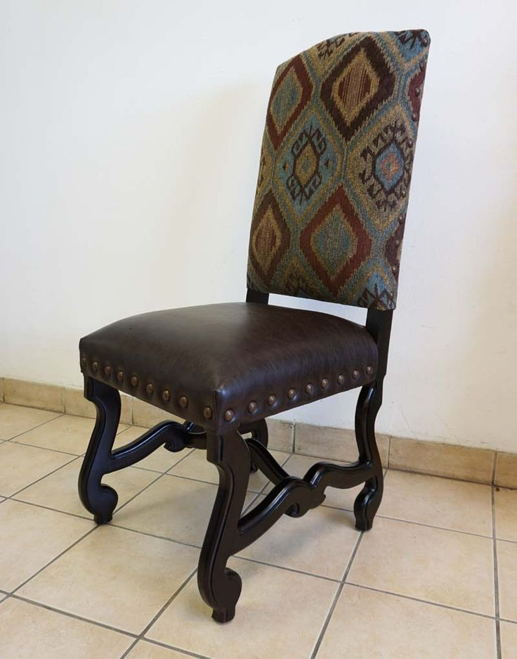 Kelly Dining Chair Western Dining Chairs - Southwestern inspired pattern in aqua, browns and tans upholsters the front and back. Seat is dark espresso faux leather. Available as side chair and arm chair.