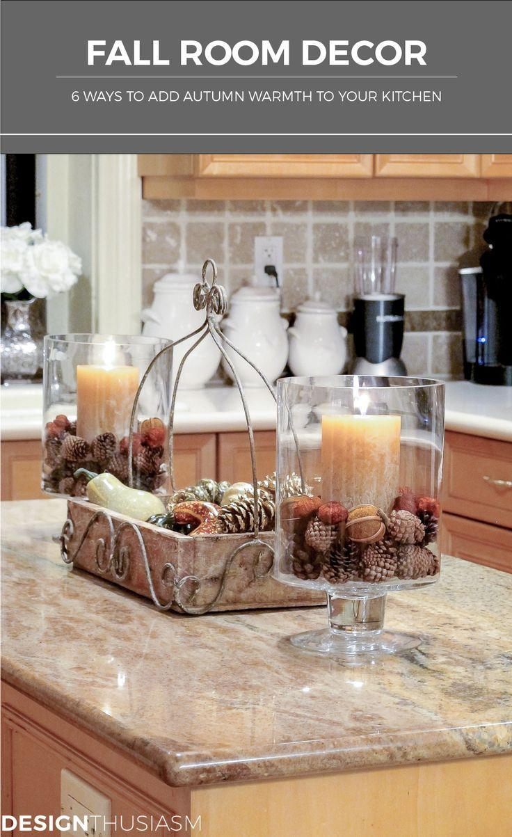 Everyone loves fall room decor, but people often overlook the most used room in the home.  Here are quick and easy ways to add autumn warmth to your kitchen | #Designthusiasm