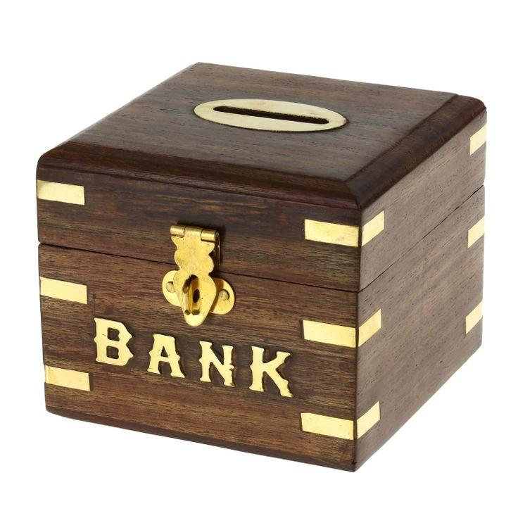 dinero seguro caja alcancía de madera para niños niñas y adultos: Amazon.es: Juguetes y juegos