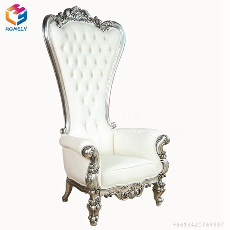 Rental cheap gold leather silver solid wood frame king throne chair for wedding