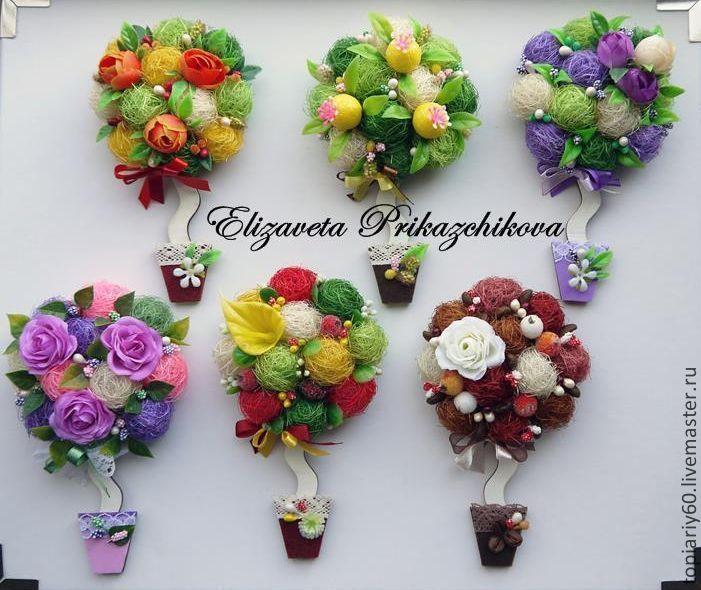 Топиарии-магниты на холодильник - магниты на холодильник,топиарий,топиарий дерево счастья