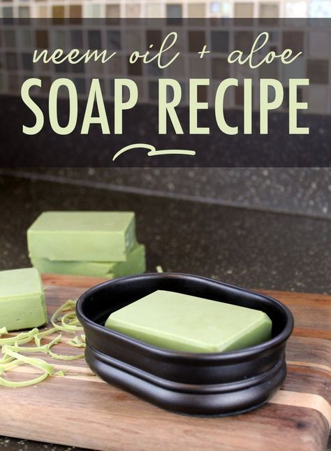 Aloe Vera Soap Recipe with Neem Oil! If you commonly turn to aloe vera to soothe and moisturize your skin, then add this soap recipe to your weekend to do list now! Formulated using natural ingredients, my cold process aloe vera soap recipe uses aloe vera gel in place of the water for its natural skin care benefits. #aloevera #soap #soapmaking #soaprecipe #palmfree #vegan #diy #crafts #neemoil