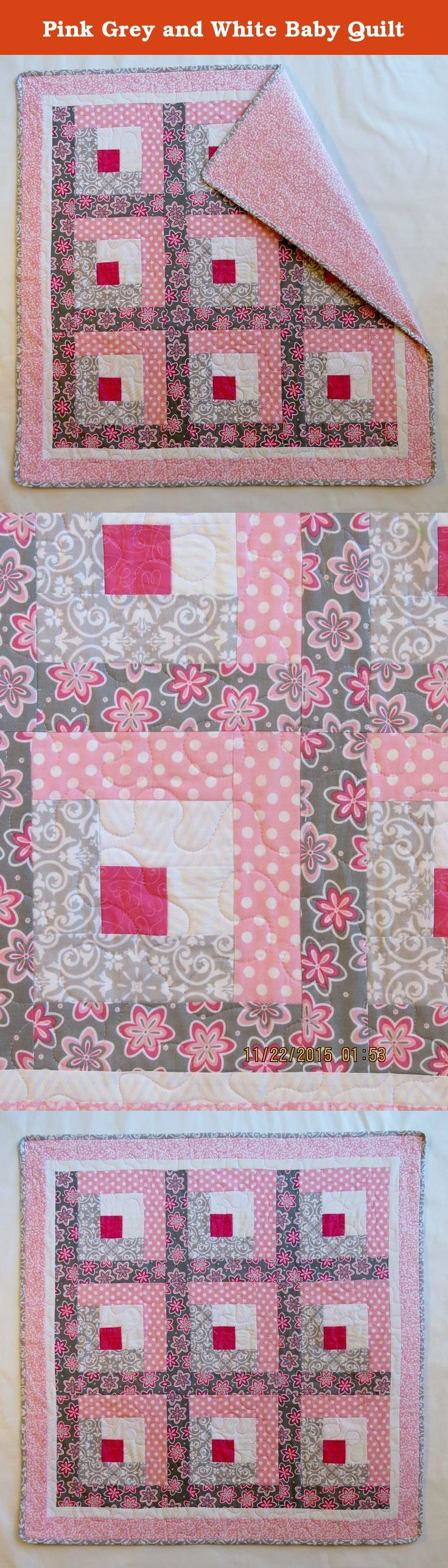 Baby quilts bed covers - Pink Grey And White Baby Quilt Log Cabin Design With A Modern Look