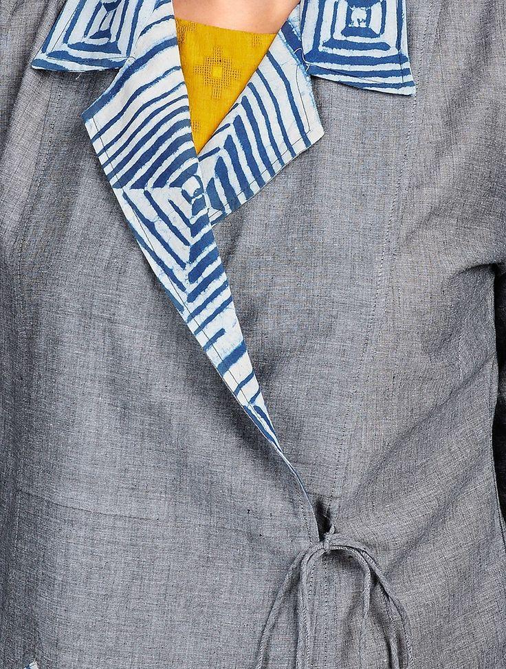 Buy Grey Indigo Dabu Printed Cotton Angrakha Jacket with Mustard Sleeveless Flared Kurta