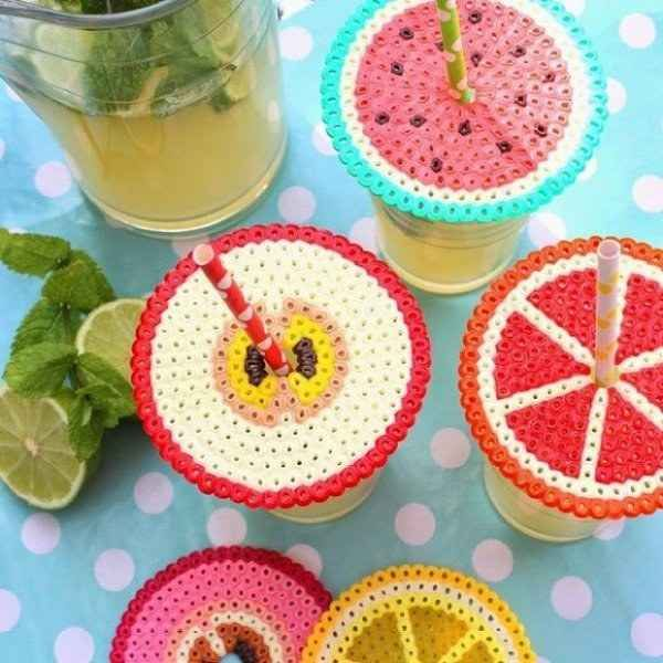 Use iron pearled beads to make adorable drink covers. Identify drinks through patterns. Perfect for outdoors