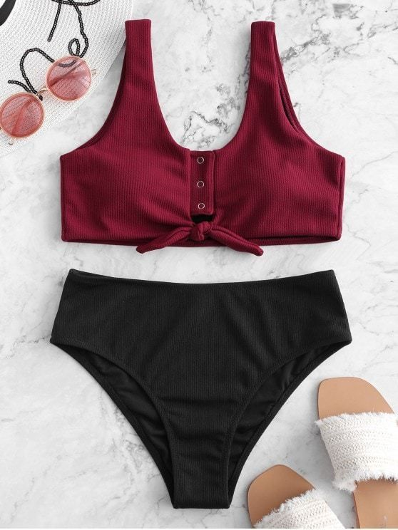 Color Block Snap Button Ribbed Tankini Swimsuit for Teens Big Busts Women Plum Pie M