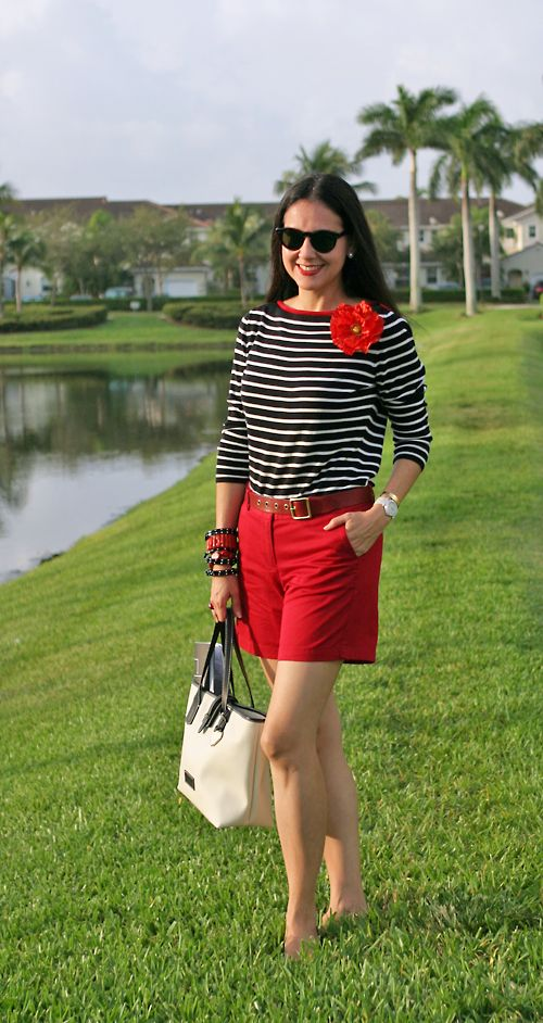 August 23, 2012  http://www.akeytothearmoire.com/post/30031583018/happy-poppy  #boatneck #striped #red #black #shorts