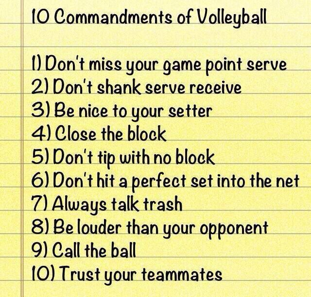 The 10 Commandments of Volleyball  this is SOO true! A must!