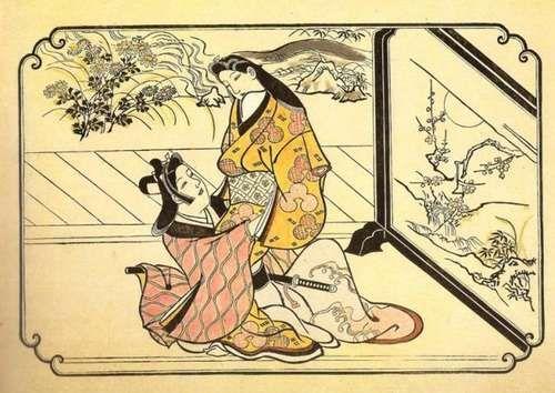 Бидзин-га (Сюнга японские эротические гравюры) Судзуки Харунобу  Сюнга вновь исчезли на какое–то время в начале XIX в. при строгих сёгунах. Это, впрочем, не загнало в подполье фантастическое и временами комичное эротическое искусство Японии. Хиросигэ был, вероятно, последним великим художником–гравером Японии времен сёгуната до прибытия коммодора Пэрри и введения цензуры в эпоху Мэйдзи. Он писал сцены из жизни Ёсивара с артистизмом и беззастенчивой чувственностью. Его вид Великих Ворот на…