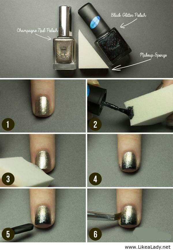 Black glitter polish and Champagne nail polish