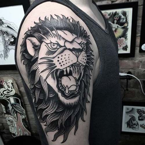 roaring lion head tattoo kükreyen aslan dövmesi