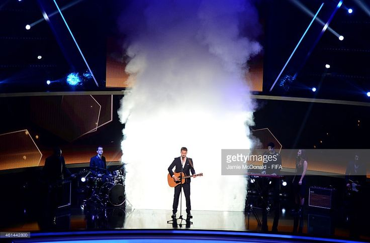 Swiss singer Bastian Baker performs during the FIFA Ballon d'Or Gala 2014 at the Kongresshaus on January 12, 2015 in Zurich, Switzerland.
