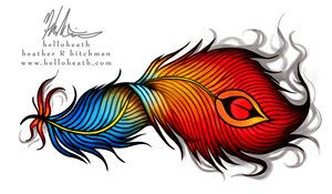 Smoking Feather Tattoo Design by helloheath