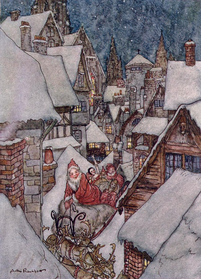How many children have gathered on Christmas Eve to have 'The Night Before Christmas' read to them? ...... This wonderful  artwork is by  artist Arthur Rackham. <> (holidays, Christmas, Xmas, traditions, poetry)