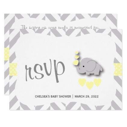 Yellow & Gray Elephant Baby Shower - RSVP Card - invitations custom unique diy personalize occasions