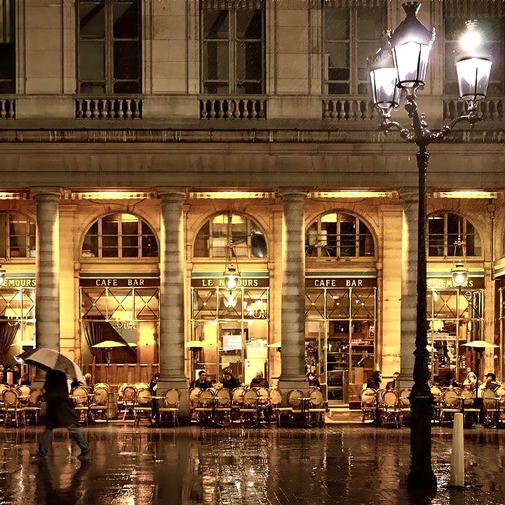 Cafe Le Nemours in Paris, France. Photo found on the blog Little Brown Pen, this entry: http://littlebrownpen.com/light/cafe-le-nemours/