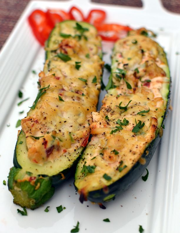 Stuffed Zucchini Boats - really the zucchini serves as a low calorie reason to eat cheese.  But this was shockingly good.  And vegetarian.  And grilled.  So really, this is a win win win win! :)