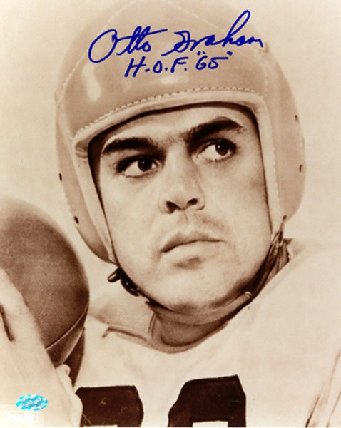 Otto Graham Cleveland Browns.  His father was my homeroom teacher in Waukegan, IL. He was also the high school music director and wrote our high school song 'Hail Waukegan High'.