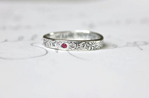 thin ruby wedding band ring . skinny recycled silver stacking ring . engraved personalized simple vine band by peacesofindigo on Etsy, $143.00