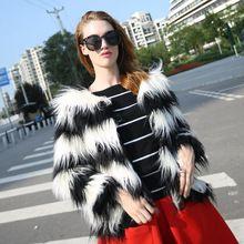 2016 Güz yapay faux kürk şerit ceket ceket, kürklü kabarık kadınlar için ceket ve mont, moda sıcak giysiler(China (Mainland))