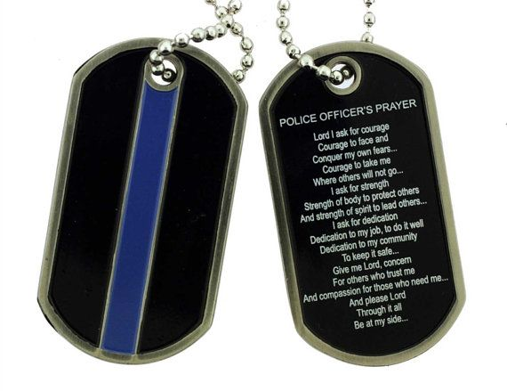 Thin Blue Line Police Prayer Dog Tag SKU: DT041 by RescueTees $15.99