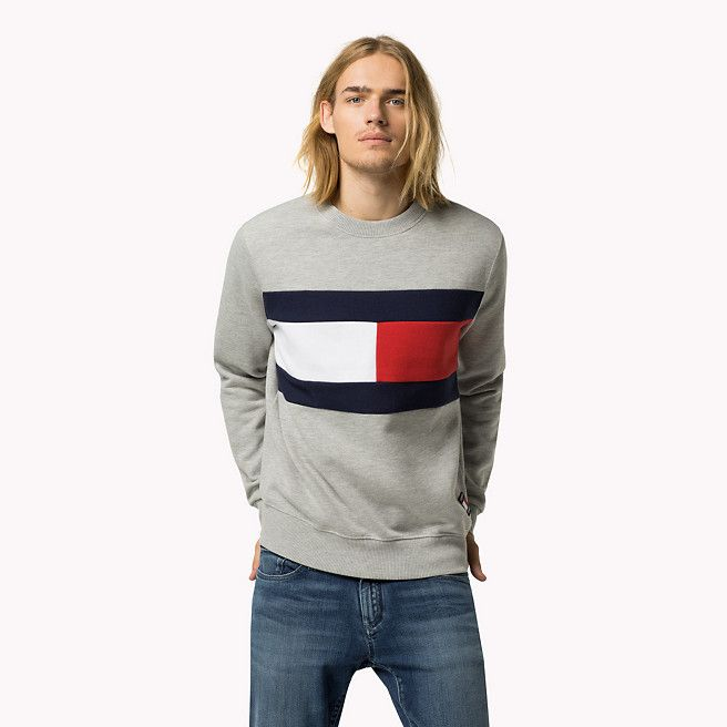 Tommy Hilfiger Logo-sweatshirt Aus Baumwoll-fleece - grey marl multi (Grau) - Tommy Hilfiger Sweatshirts - Hauptbild