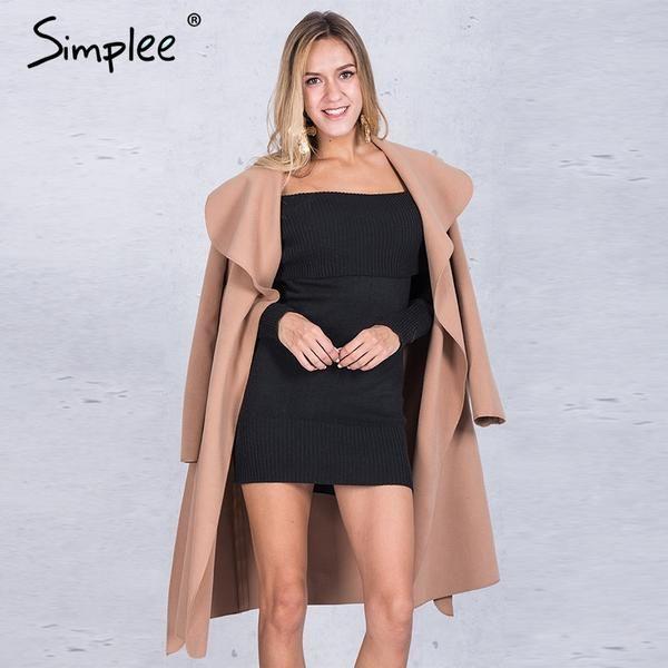 Black ruffle warm winter long coat collar overcoat female Casual autum – OFF THE WALL