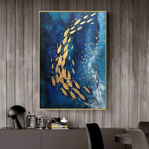 Gold art Abstract paintings on canvas original art fish ocean Sea Navy blue framed painting heavy texture Wall Pictures cuadros abstractos
