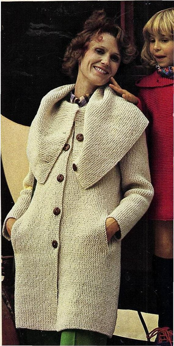 Instant Download PDF Vintage Easy Bebinner's Knitting Pattern to make a Ladies Cape Collar Garter Stitch Cardigan Coat Worked Sideways