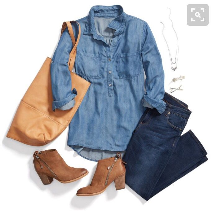 Cute Jean tunic top. Stitch fix inspiration. Try stitch fix :) personal styling service! 1. Sign up with my referral link. (Just click pic) 2. Fill out style profile!Make sure to be specific in notes. 3. Schedule fix and Enjoy :) There's a $20 styling fee but will be put towards any purchase!