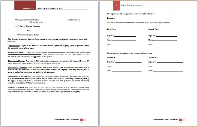 dealership agreement template at worddox.org