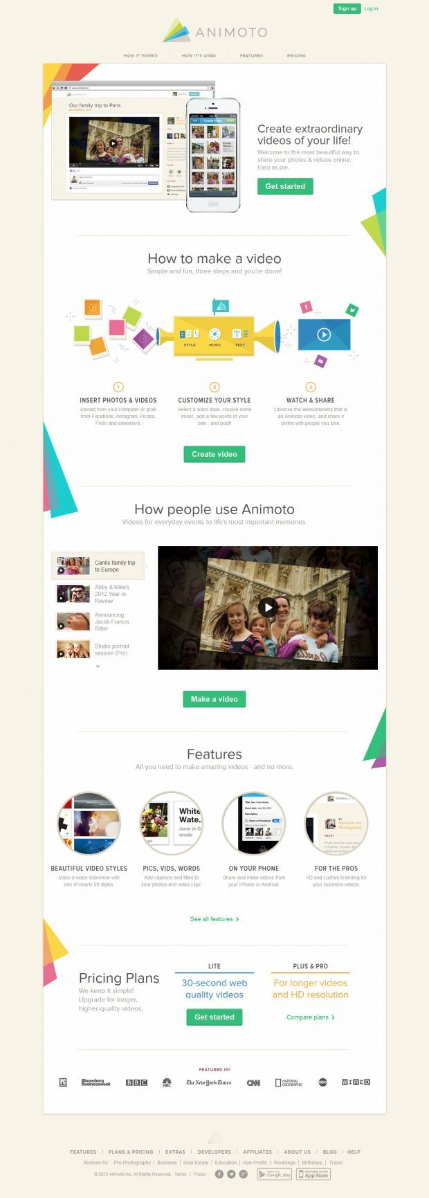Animoto - Make and Share Beautiful Videos Online - #Webdesign #inspiration www.niceoneilike.com